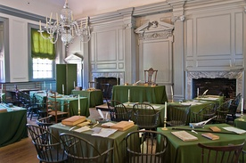 Independence Hall's Assembly Room, where both the Constitution and Declaration of Independence were debated and signed.