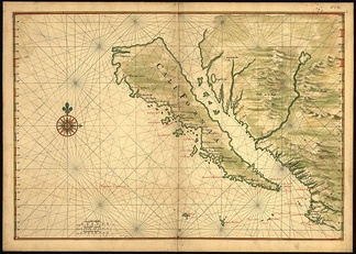 "California is shown as an island on this 1650 map. The smaller islands located in the ""channel"" were mentioned in an early myth and subsequently included by mapmakers over the centuries who took it on faith that region had actually been explored."