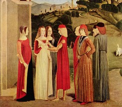 Young Italian men wear brimless caps, The Betrothal, c. 1470[36]