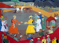 Raja Jai Singh of Amber receiving Shivaji a day before concluding the Treaty of Purandar