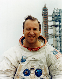 Lovell in front of the launch pad before the Apollo 13 mission