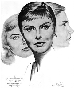 Drawing of Woodward upon winning an Oscar for The Three Faces of Eve in 1957 by artist Nicholas Volpe