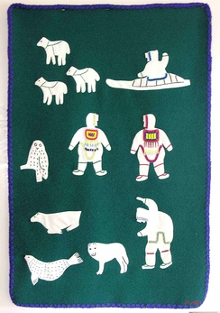 Textile art by Julia Pingushat (Inuk, Arviat, Nunavut, Canada), wool, embroidery floss, 1995