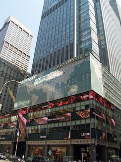 The New York City headquarters of Barclays (formerly Lehman Brothers, as shown in the picture). In background, the AXA Center, headquarters of AXA, first worldwide insurance company.