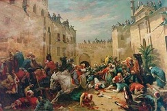 Massacre of the Mamluks at the Cairo citadel, painted by Horace Vernet.