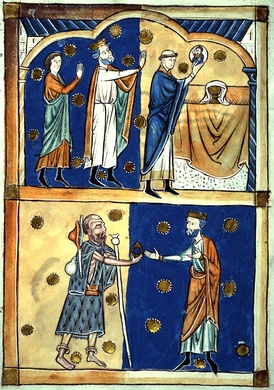Above: King Edward the Confessor and Earl Leofric of Mercia see the face of Christ appear in the Eucharistic host; below: the return of a ring given to a beggar who was John the Baptist in disguise. 13th century abridgement of Domesday Book