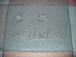 Hand prints of Fox in front of The Great Movie Ride at Disney's Hollywood Studios theme park