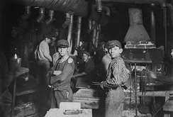 Child labourers in an Indiana glass works. Trade unions have an objective interest in combating child labour.
