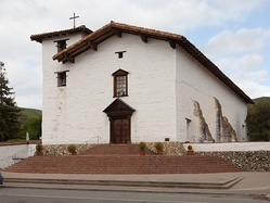 The main facade of the restored 1809 Mission San José chapel, on the National Register of Historic Places