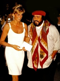 Diana is greeted by Luciano Pavarotti on arrival in Modena, Italy, for the benefit concert Pavarotti & Friends for the Children of Bosnia to raise money for Bosnian children, September 1995