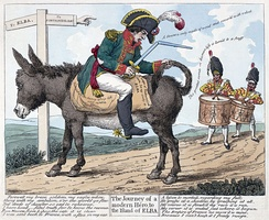 "The journey of a modern hero, to the island of Elba. Print shows Napoleon seated backwards on a donkey on the road ""to Elba"" from Fontainebleau; he holds a broken sword in one hand and the donkey's tail in the other while two drummers follow him playing a farewell(?) march."