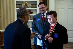 President Obama with Make-A-Wish recipient Nick Wetzel and his older brother Stephan on December 9, 2016.
