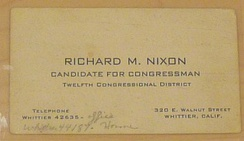 A business card from Richard Nixon's first Congressional campaign, in 1946.