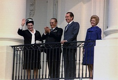 Josip Broz Tito led SFR Yugoslavia from 1944 to 1980; Pictured: Tito with the US president Richard Nixon in the White House, 1971