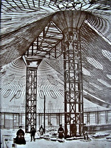 The world's first steel tensile structure by Shukhov (during construction), Nizhny Novgorod, 1896