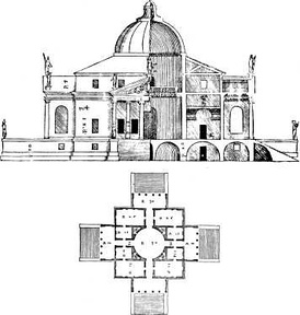 Plan for Palladio's Villa Rotonda. Features of the house were to become incorporated in numerous Palladian style houses throughout Europe over the following centuries.