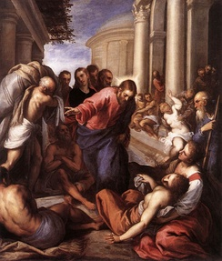 Jesus healing the paralytic in The Pool by Palma il Giovane, 1592
