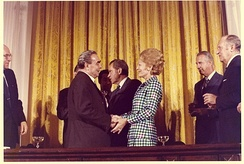 US First Lady Pat Nixon with Leonid Brezhnev at the White House, 1973