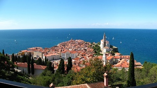 Panoramic view of Piran, Slovenia