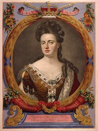 Tinted engraving of Anne from an atlas commissioned by Augustus the Strong, 1707