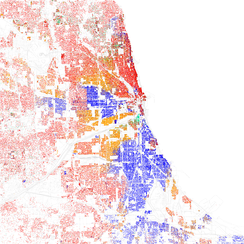 Map of racial distribution in Chicago, 2010 U.S. Census. Each dot is 25 people: White, Black, Asian, Hispanic or Other (yellow)