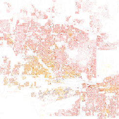 Map of racial distribution in Phoenix, 2010 U.S. Census. Each dot is 25 people: White, Black, Asian Hispanic, or Other (yellow)