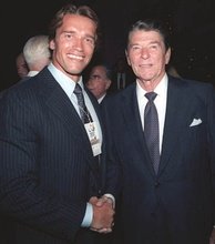 Schwarzenegger with President Ronald Reagan two months before The Terminator's premiere in 1984