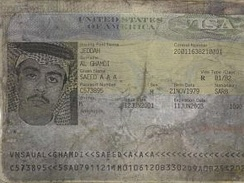 Visa page from Saeed al-Ghamdi's Kingdom of Saudi Arabia passport recovered from the United Airlines Flight 93 crash site