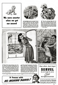 1941 Ad for Servel Electrolux Gas Refrigerator (Absorption),[34] designed by Norman Bel Geddes.[35][36][37] In 1998, CPSC warned that old units still in use could be deadly, and offered a  $100 reward plus disposal costs to consumers who properly disposed of their old Servels.[38]