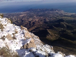 Benidorm seen from the mountain Puig Campana (1,400 masl) in January