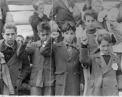 Children preparing for evacuation from Spain during the Spanish Civil War between 1936 and 1939.