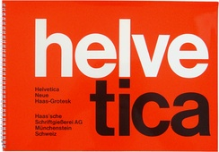 An early Helvetica specimen in the asymmetric Swiss modernist style, showing tight spacing in the poster style of the period