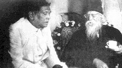 A. K. Fazlul Huq and a bearded Rabindranath Tagore talking