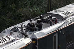 Class 800 pantograph in lowered position