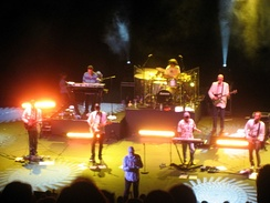"The touring lineup of Mike Love and Bruce Johnston's ""The Beach Boys Band"", with David Marks, in 2008"