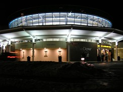 The Dow Event Center at nighttime, as it appeared in December 2004.