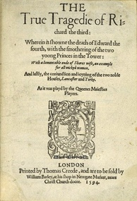 Cover of the 1594 quarto of the anonymous play, The True Tragedy of Richard III.