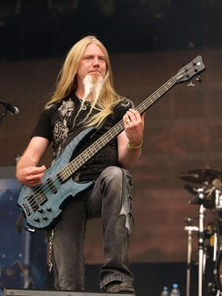 Nightwish's current bassist, Marco Hietala, who replaced Sami Vänskä in late 2001.