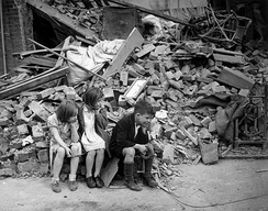 Children in the East End of London, made homeless by the Blitz