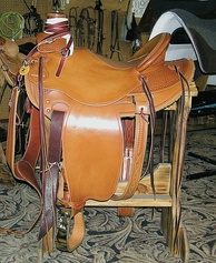 "A ""Wade"" saddle, popular with working ranch Buckaroo tradition riders, derived from vaquero saddle designs"