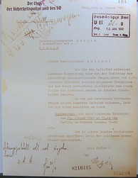 Letter from Heydrich to Martin Luther, Undersecretary at the Foreign Office, inviting him to the Wannsee Conference (Wannsee Conference House Memorial, Berlin)