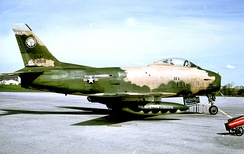 138th Tactical Fighter Squadron F-86H Sabre 53-1519 about 1966 in Vietnam War camouflage