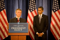 Daschle, standing with then-President-elect Barack Obama, speaks to reporters after the announcement of his selection to be Obama's nominee for the position of Secretary of Health and Human Services. (December 11, 2008)