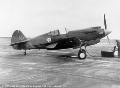 A 77th Pursuit Squadron P-40G at Oakland Airport, California in 1942