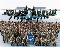 Group photo of the 355th Tactical Fighter Squadron Personnel from Myrtle Beach AFB South Carolina in March 1991 at King Fahd International Airport Saudi Arabia after the Coalition victory in Operation Desert Storm.