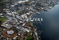 The downtown waterfront area of Kirkland, on the shores of Lake Washington
