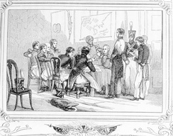 Two soldiers stand trial. Several other men gather around.