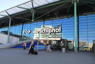 The main entry of Amsterdam Airport Schiphol.