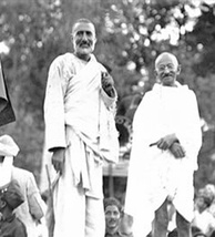 Khan Abdul Ghaffar Khan with Gandhi in 1930. Also known as Frontier Gandhi, Khan led the non-violent opposition against the British Raj and strongly opposed the partition of India.