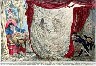 James Gillray's caricature of 1805. Paul Barras being entertained by the naked dancing of two wives of prominent men, Thérésa Tallien and Joséphine Bonaparte